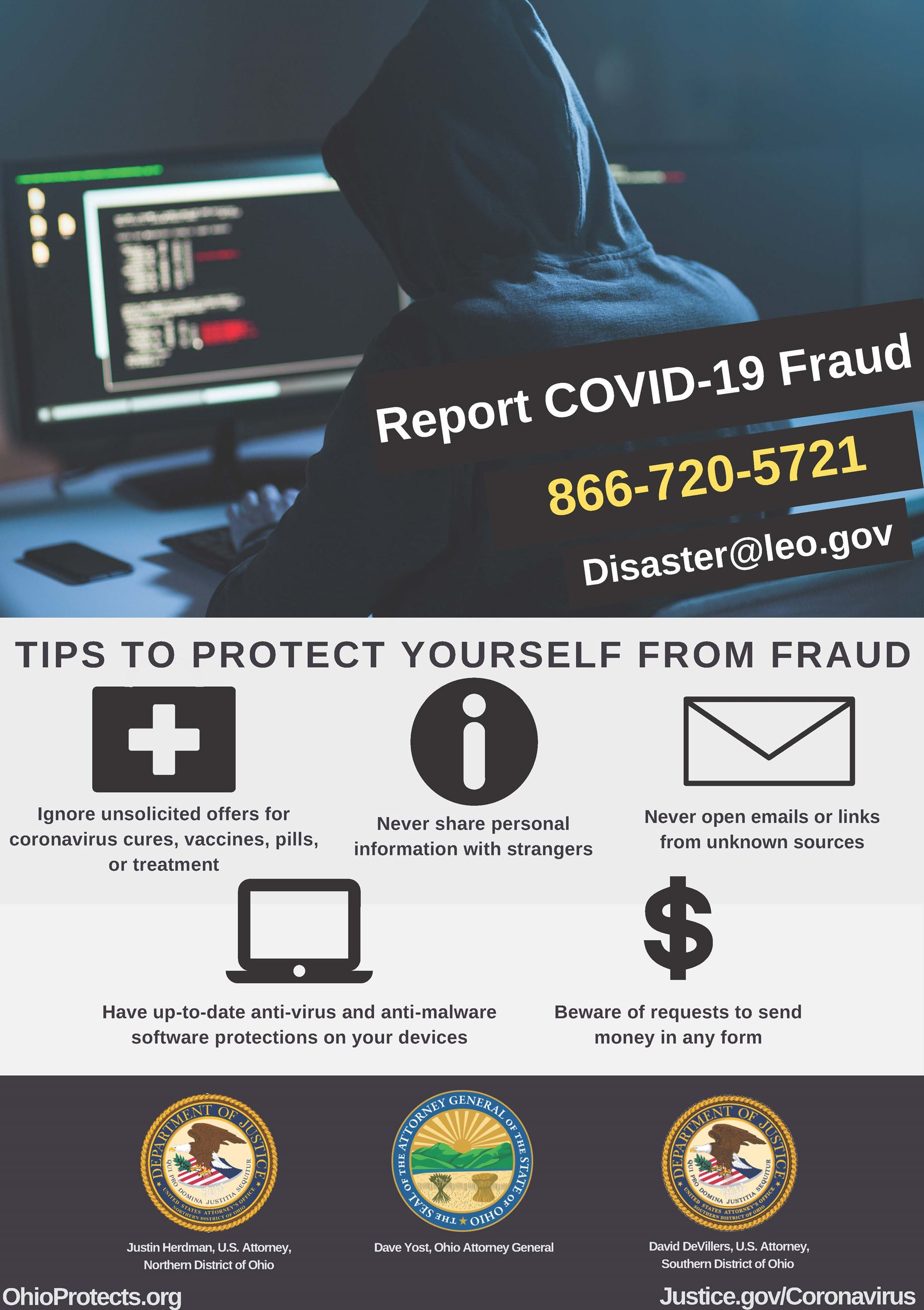 Report COVID-19 fraud flyer